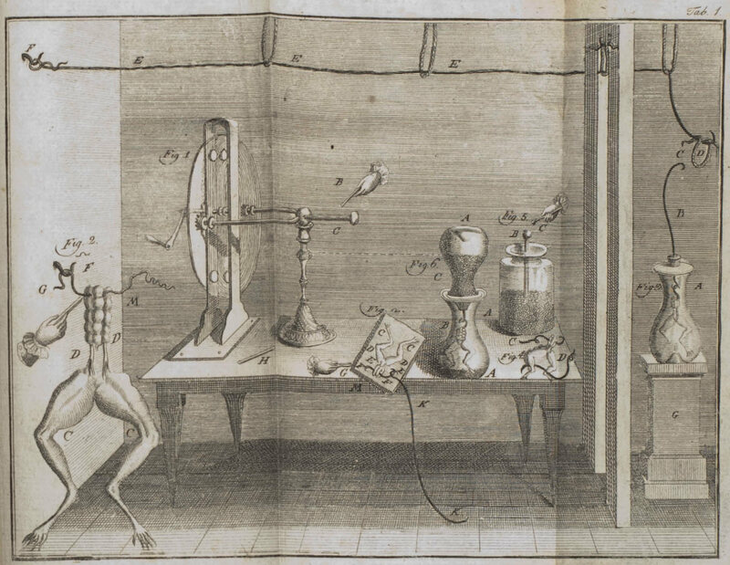A sketch of Luigi Galvani's 1780 frog muscle experiment.