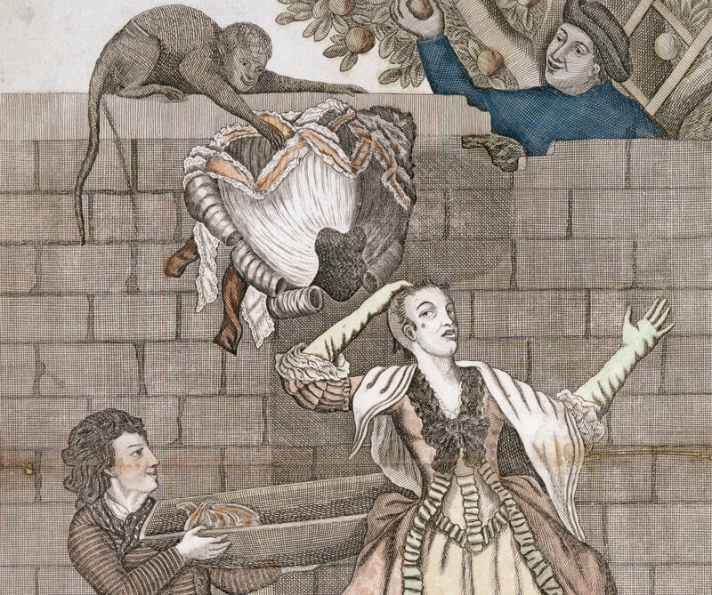 Wig-wearing socialites: beware of hidden boys, monkeys, and thieving men on horses.
