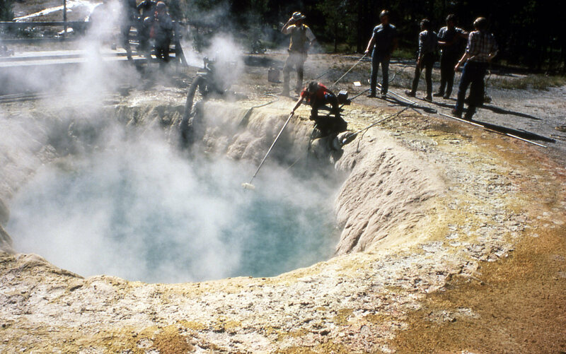 Yellowstone's Morning Glory Pool, being cleaned in 1975.