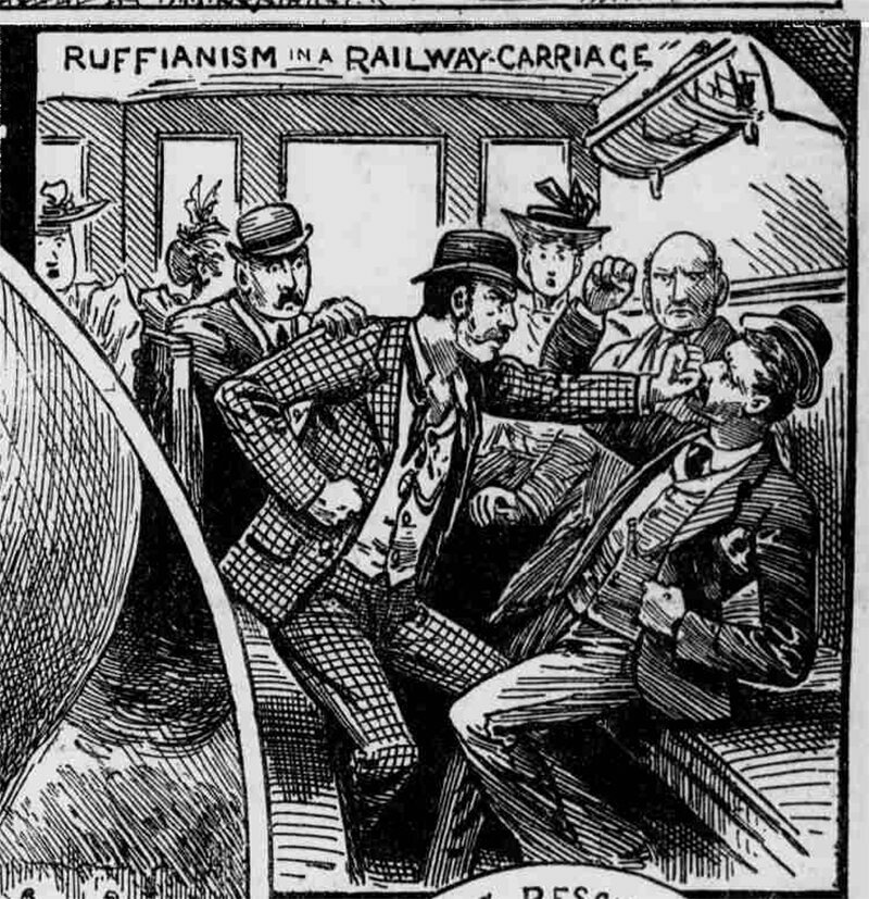 """Ruffianism in a Railway Carriage,"" <em>Illustrated Police News</em>, Saturday 15 September 1894."