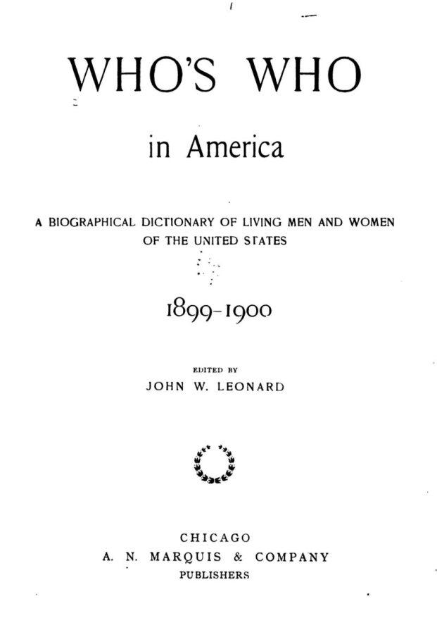 La page de titre à l'édition 1899-1900 de <em> Who's Who in America </ em>.