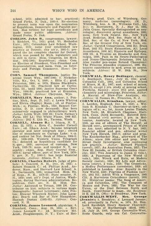 Une page des entrées du 1902 <em> Qui est en Amérique </ em> comprend les avocats, les chimistes et les médecins.