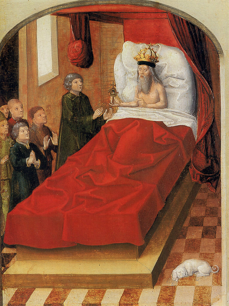 A depiction of a 15th-century bed.