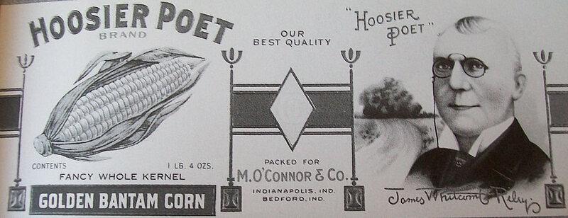 """Hoosier Poet"" brand vegetables, after James Whitcomb Riley, the  Indiana-born ""Hoosier Poet,"" c. 1895."
