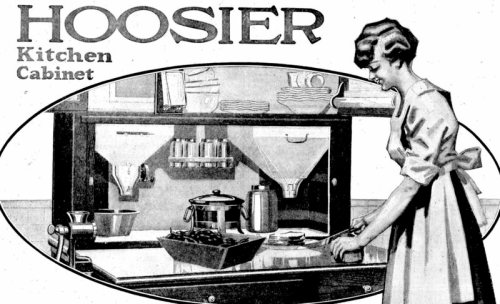 A 1917 advertisement for a Hoosier cabinet, named after an Indiana-based manufacturer.