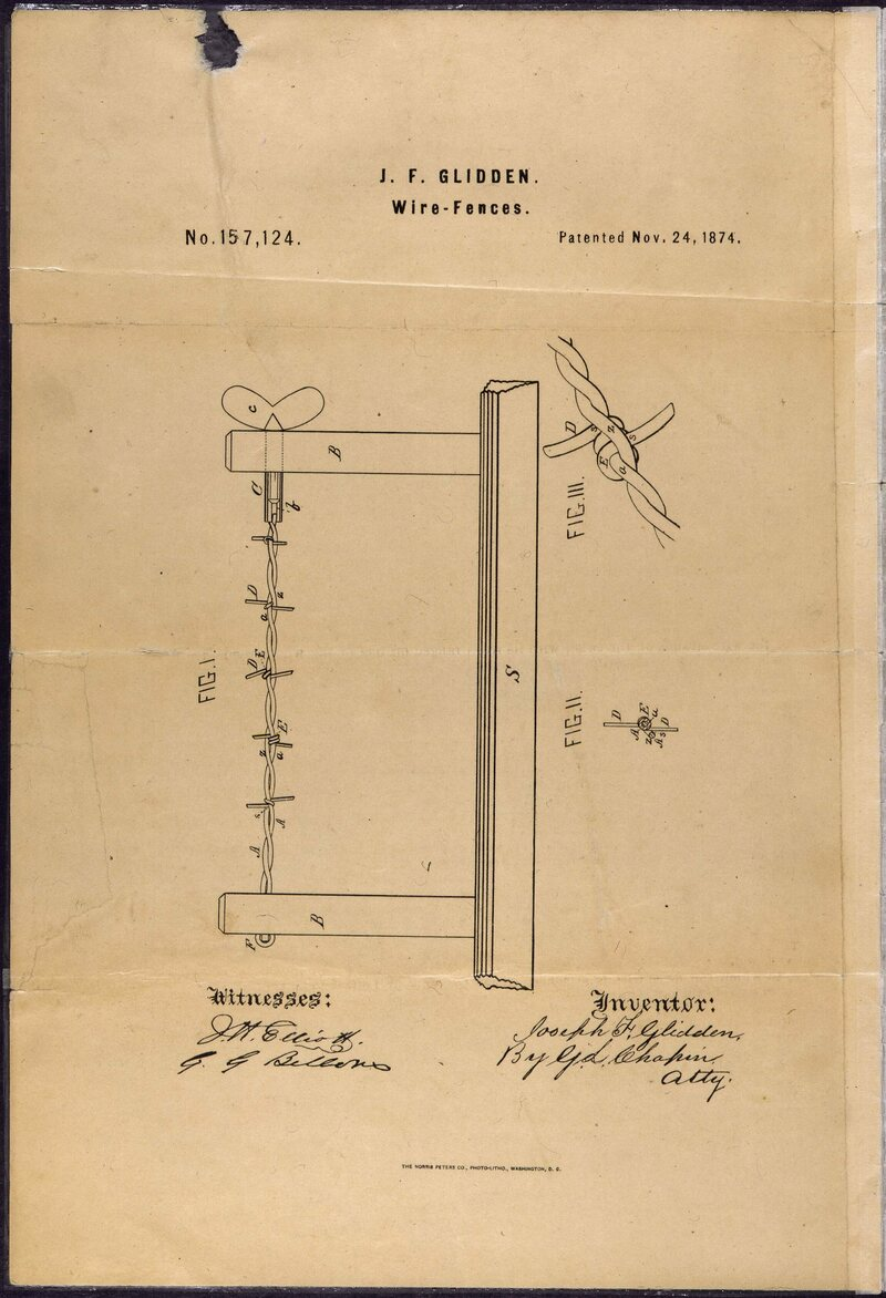 medium resolution of j f glidden s 1874 patent for barbed wire improved on a previous design and was quickly adopted