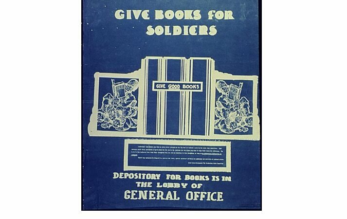 """This flyer from 1942 urges civilians to """"GIVE GOOD BOOKS."""""""