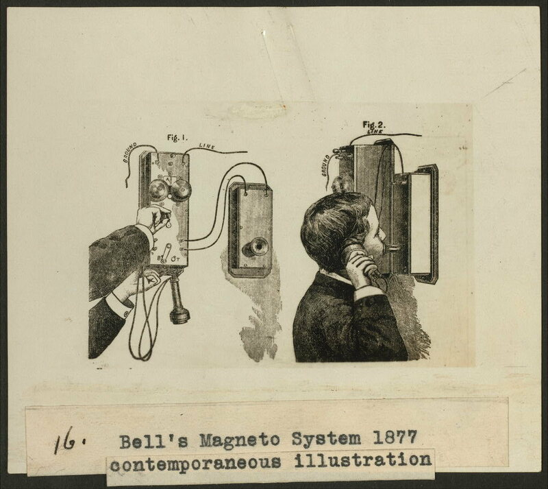An 1877 illustration shows Bell's Magneto System as it would have been used.