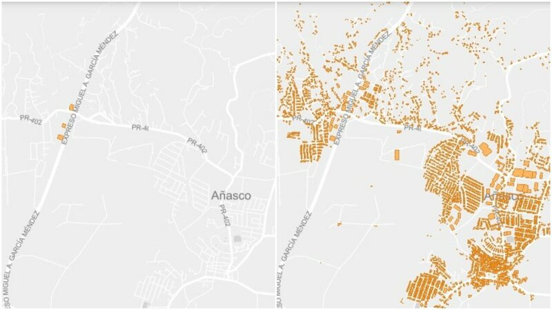 A section of northwestern Puerto Rico before and after volunteers mapped the buildings.