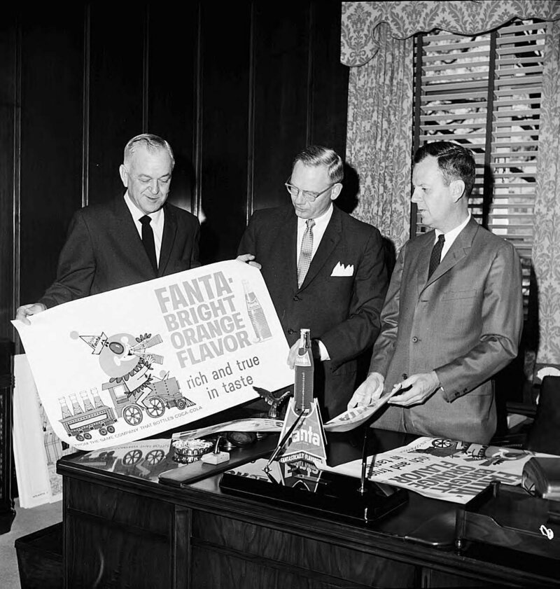 Coca-Cola executives review Fanta advertising in the 1960s.