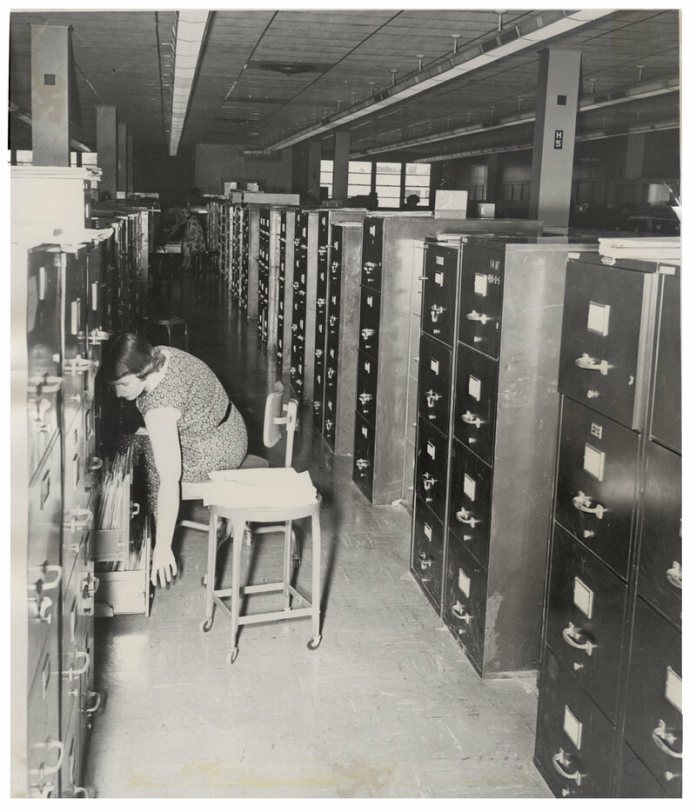 File cabinets at the Air Reserve Records Center in 1955, the same year Project 35.5 was carried out.