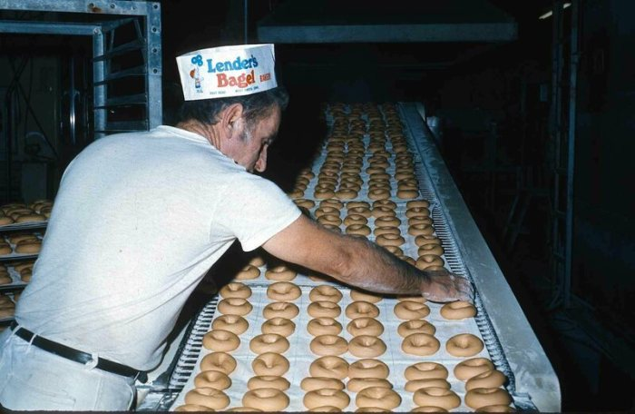 As technology improved, machines were developed that could make bagels faster, and more cheaply, than traditional artisanal labor.