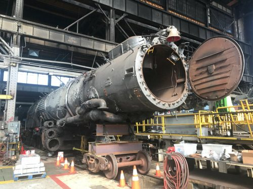 Union Pacific 4014 is seen disassembled at the railroad's restoration facility in Cheyenne, Wyoming.