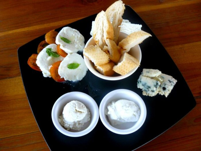 The cheese plate pictured at Laos Buffalo Dairy's cafe.