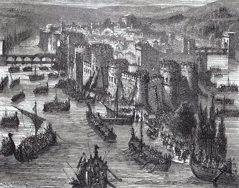 Viking ships besiege Paris, then mostly located on Île de la Cité, in 845.