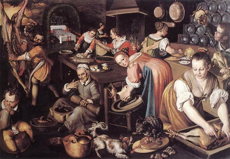 Vincenzo Campi painted the hectic activities of Medieval kitchens.