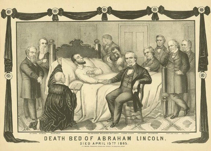 A rendering of Lincoln's very crowded deathbed.