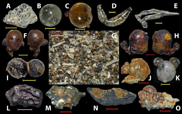 A sample of the particles discovered on the beaches of Japan's Motoujina Peninsula.