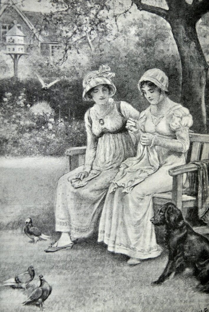 Engraving of Jane Austen and her sister Cassandra doing needlework in the rectory garden, dated 1810.