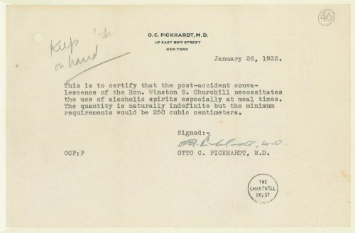 Winston Churchill's infamous doctor's note.