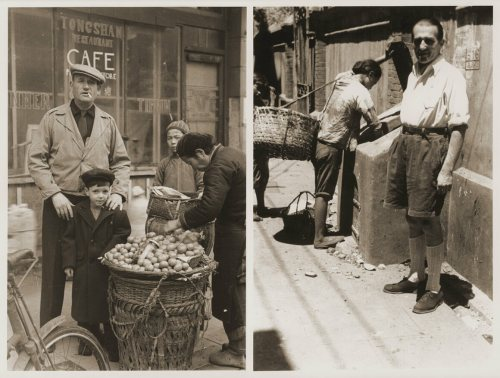From left: Jewish refugees Harry Fiedler and Heim Leiter pose next to a potato vendor in Shanghai; a Jewish refugee poses on Tongshan Road in Shanghai.
