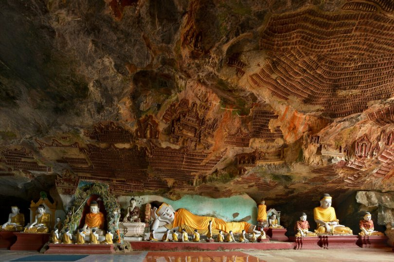 A panoramic view inside Kawgoon Cave.