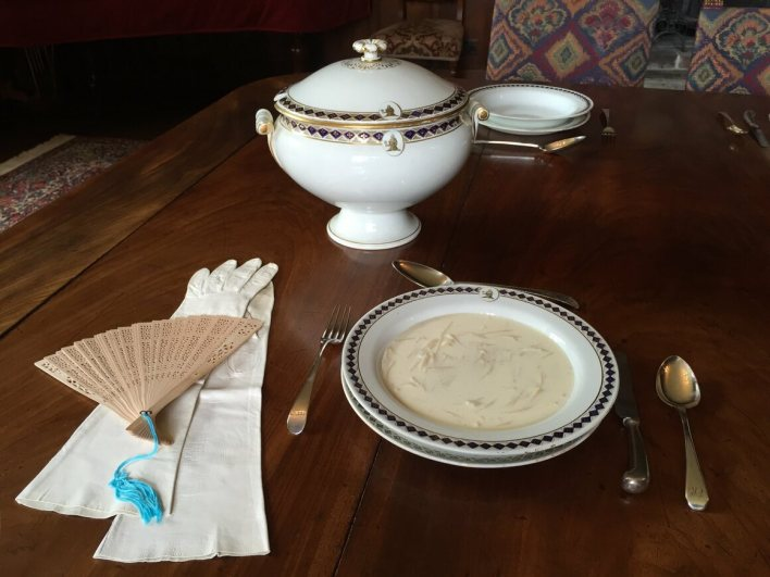 White soup, adapted by Julienne Gehrer from <em>The Knight Family Cookbook</em>, and originally featured in <em>Dining With Jane Austen</em>. The soup featured in <em>Pride and Prejudice</em> as a course at local balls.