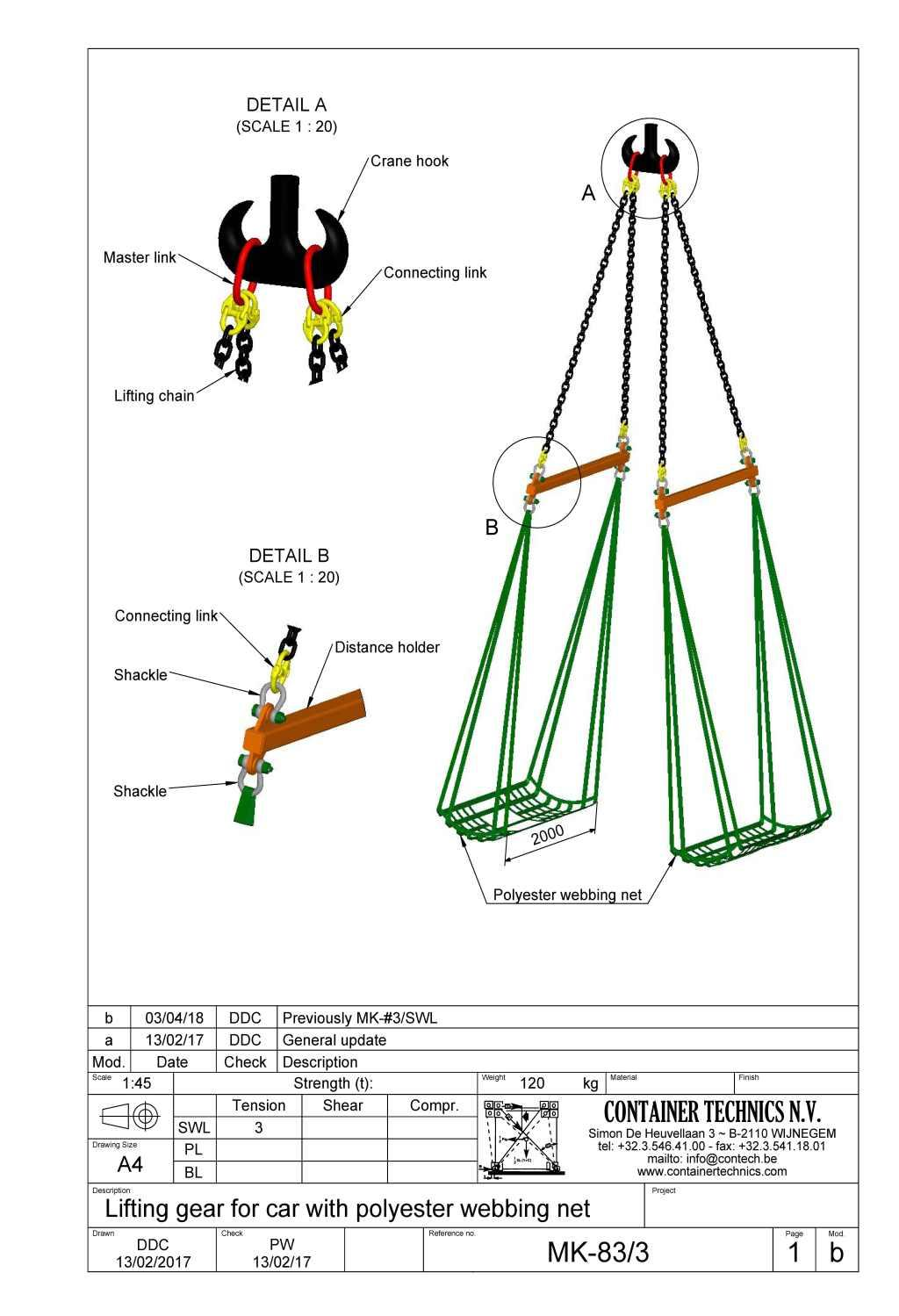 hight resolution of mk 83 car lifting gear with polyester net swl 3t