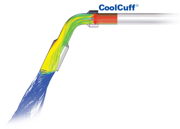 Flow dynamics analysis that shows the cooling effect of the Coolcuff design