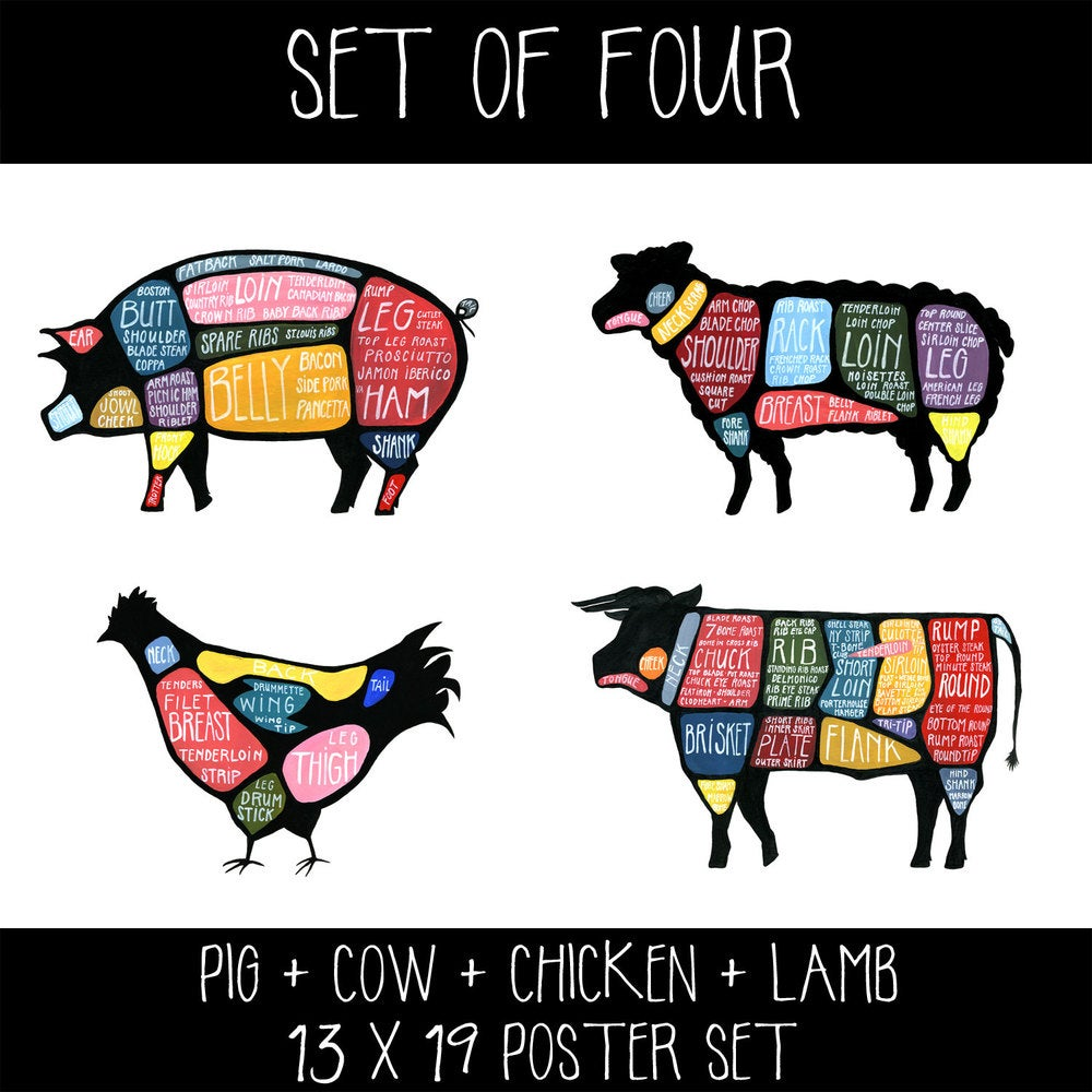 hight resolution of set of four cow pig chicken and lamb butchery diagram prints drywell art