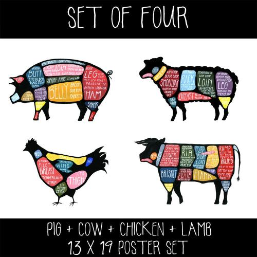 small resolution of set of four cow pig chicken and lamb butchery diagram prints drywell art