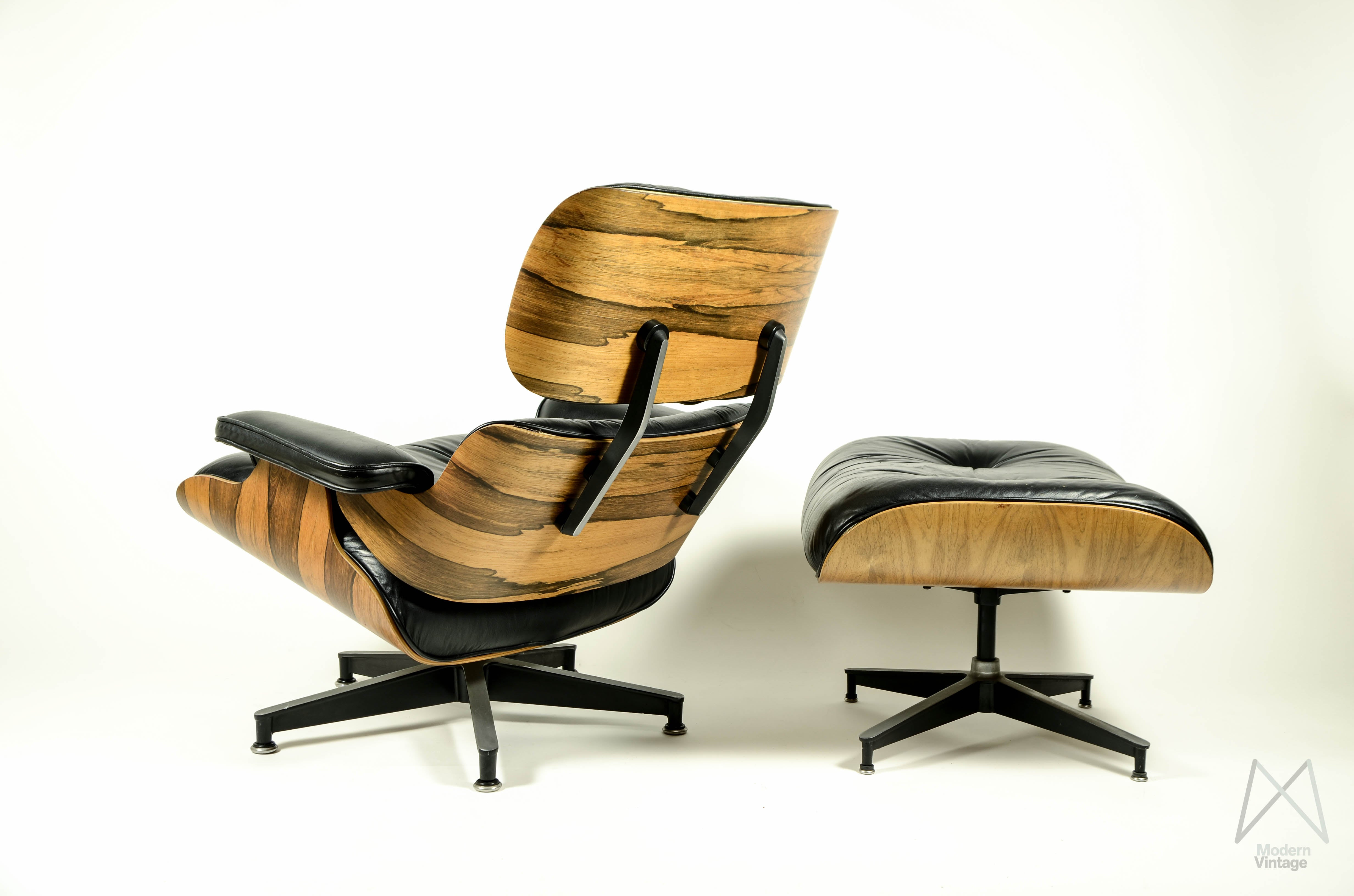eames style lounge chair and ottoman rosewood black leather oak cane seat chairs modern vintage amsterdam original furniture