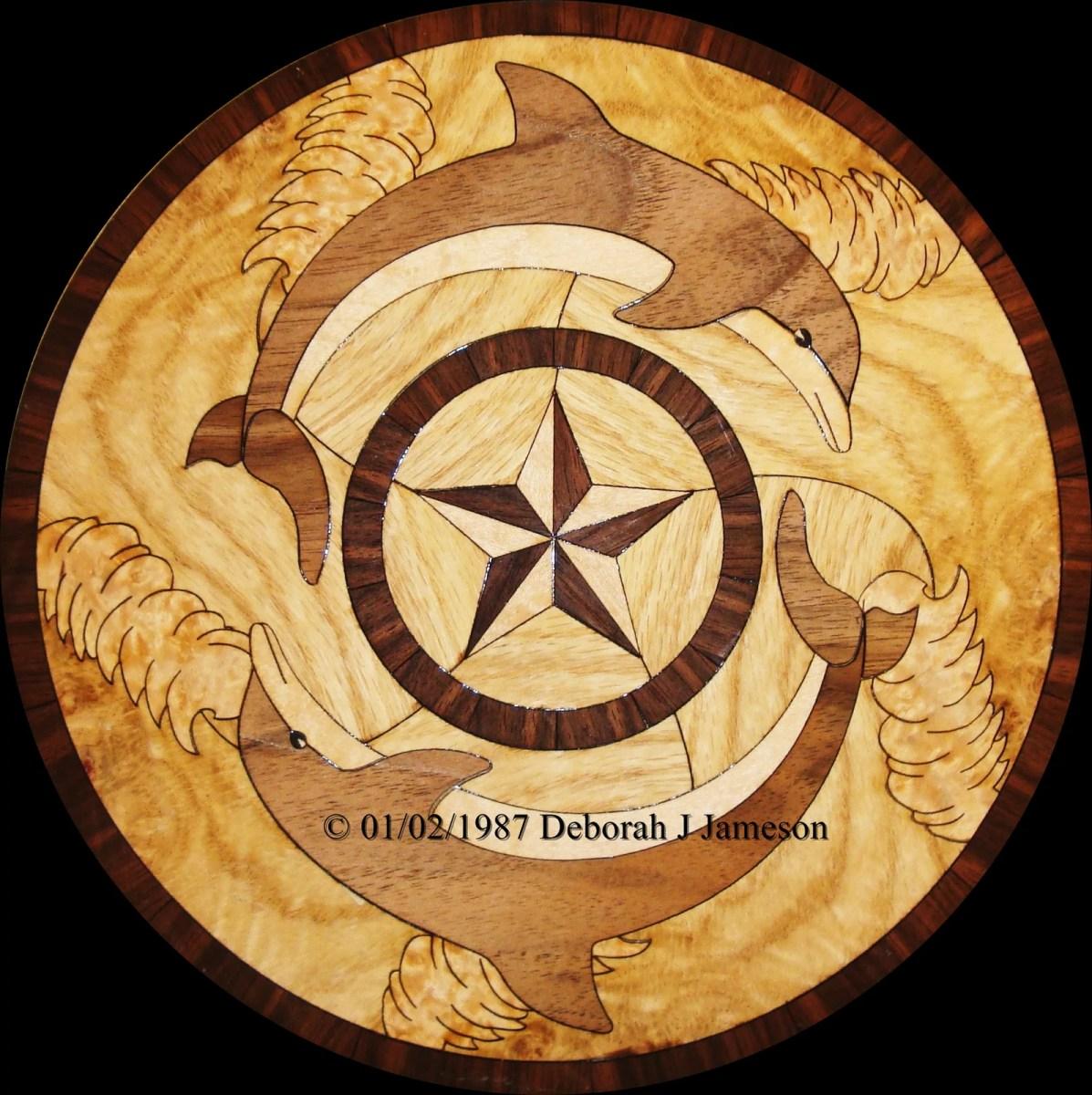 Nautical compass rose inlay wood
