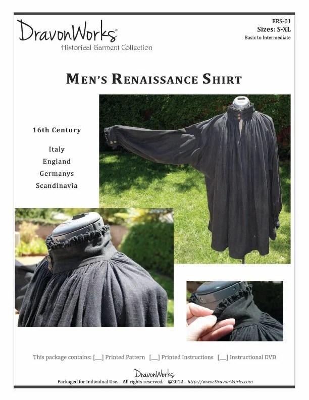 Renaissance Shirt Pattern : renaissance, shirt, pattern, Pattern, Century, Men's, Renaissance, Shirt, DravonWorks