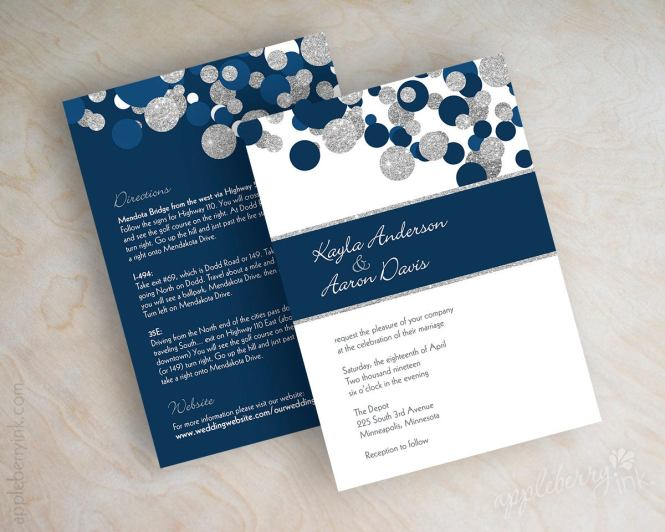 Kendall Navy Blue Silver Glitter Wedding Invitations