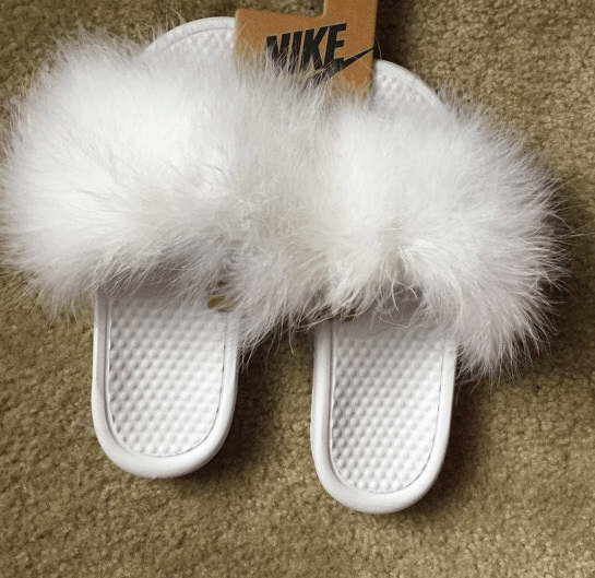 White Furry Slides  glamboutique
