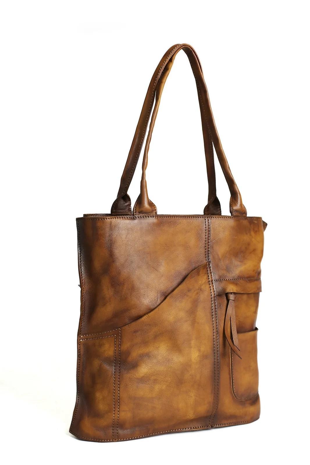 Vintage Brown Leather Tote Bag. Women's Designer Handbags DD103   MoshiLeatherBag - Handmade Leather Bag Manufacturer