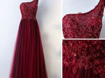 Gorgeous Dark Wine Red One Shoulder Prom Dresses 2018 ...