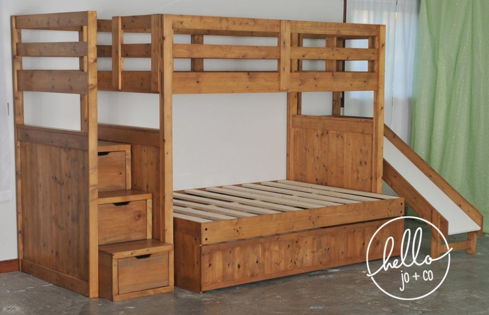 Twin over Full over twin trundle solid wood bunk bed with ...