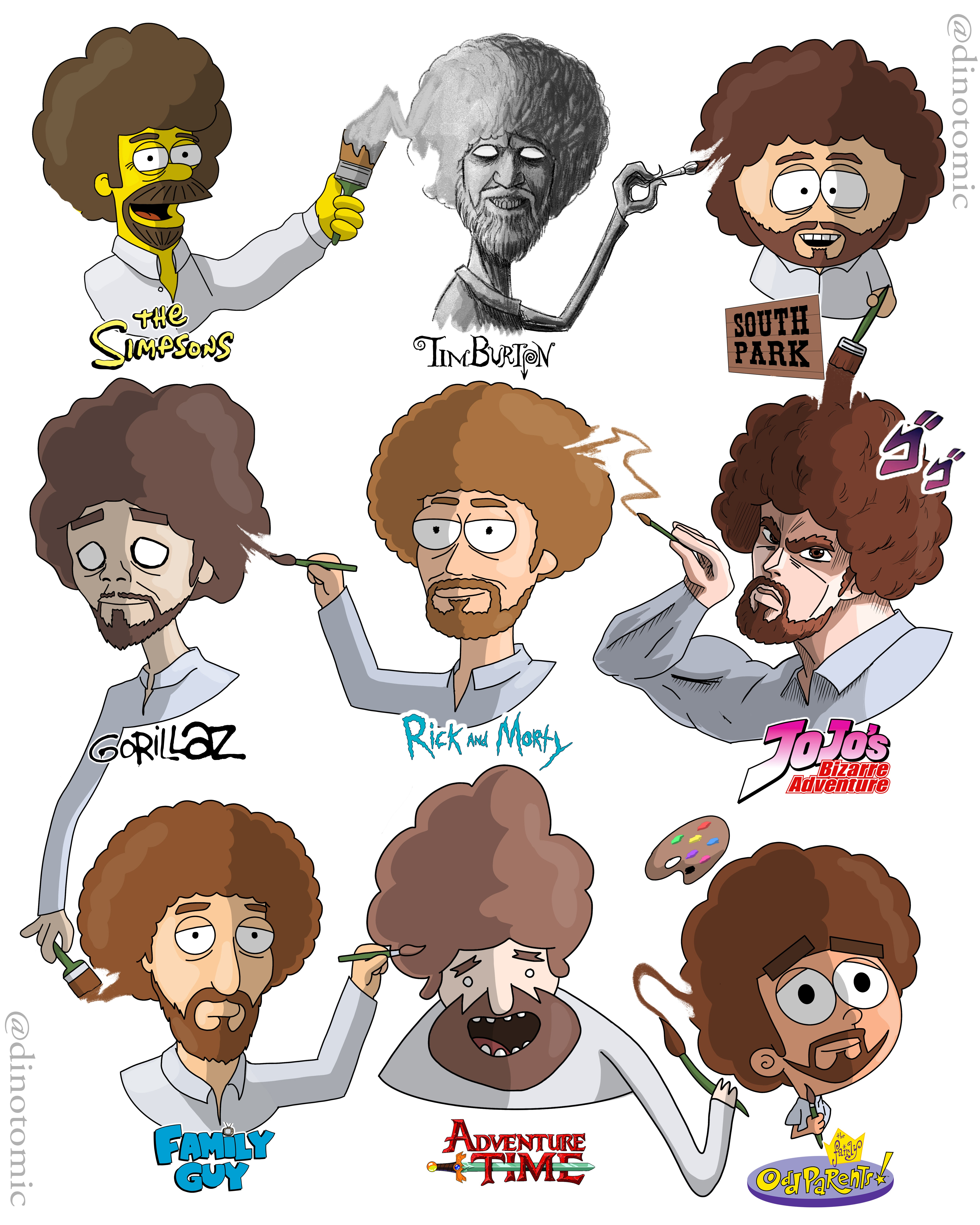 Image of #186 Bob Ross in many styles
