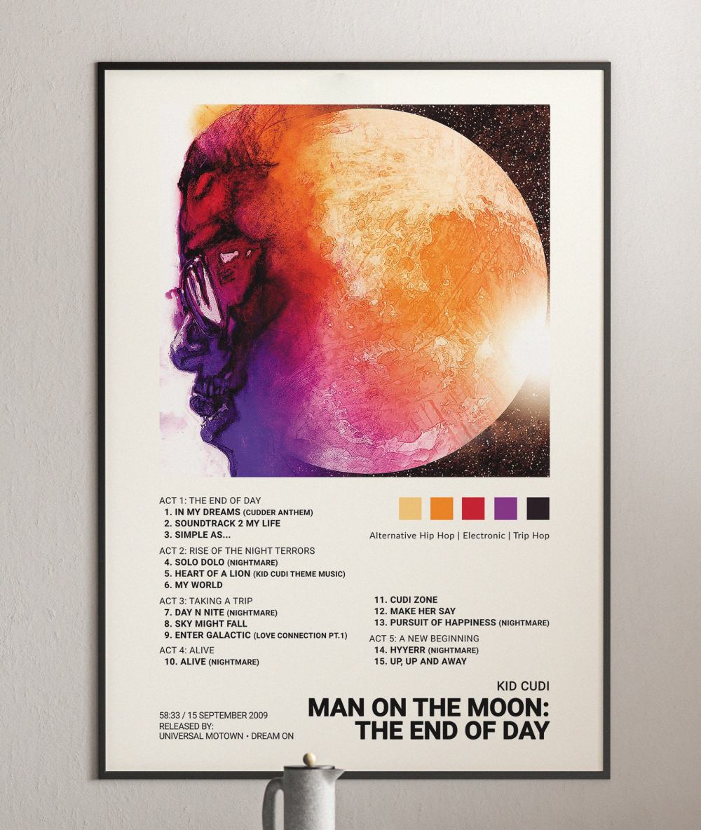 kid cudi man on the moon the end of day album cover poster