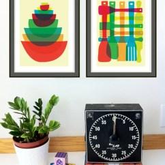 Kitchen Art Prints Vintage Lighting Strawberryluna Bowl Utensil Stack 2 Set Image Of