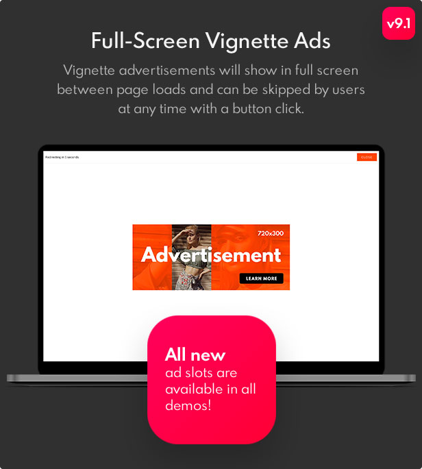 Full-Screen Vignette Ads