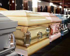 Caskets are manufactured and shipped the same day in custom-designed trailers to service centers across the country. From there, they're delivered to funeral homes.