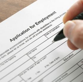 Close up of job application form