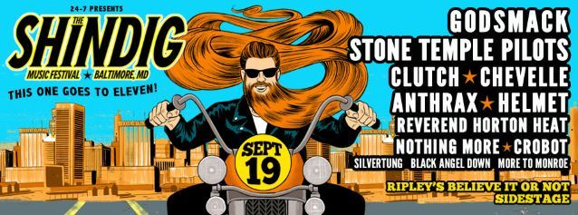 GODSMACK, STONE TEMPLE PILOTS, ANTHRAX, CLUTCH Set For THE SHINDIG MUSIC FESTIVAL