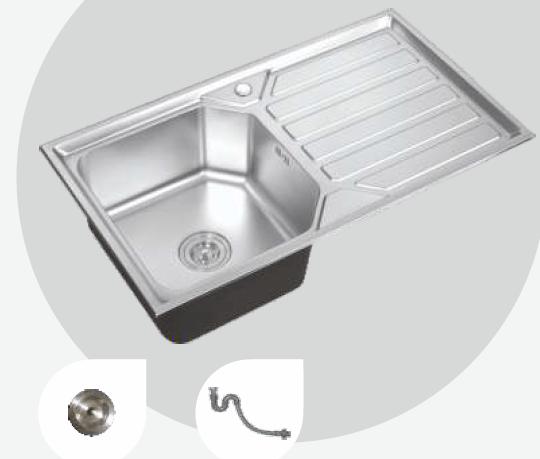 kitchen sinks with drain boards copper 900 mm x 500 leon single bowl sink board pearl finish cera 304 grade