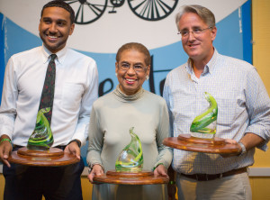 Congresswoman Eleanor Holmes Norton (D-DC), Maryland State Senator Richard Madaleno, and aide to Virginia State Senator Dave Marsden receive awards from the DMV NORML Coalition
