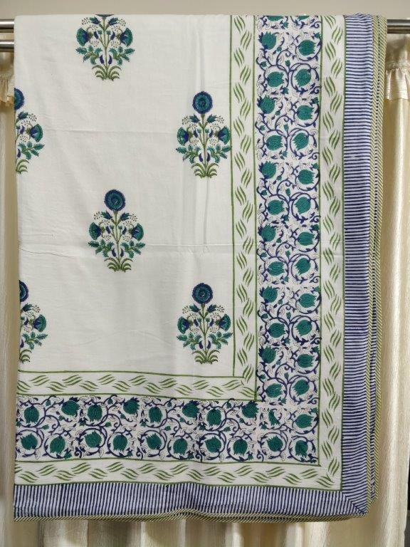 Blue-Multicolor Handblock Printed Voile Cotton Double Dohar (108in x 86in)