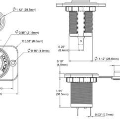 12 Volt Cigarette Lighter Socket Wiring Diagram 1996 Saturn Sl2 12v Schematic Dash Blue Sea Systems Dimensioned Drawing